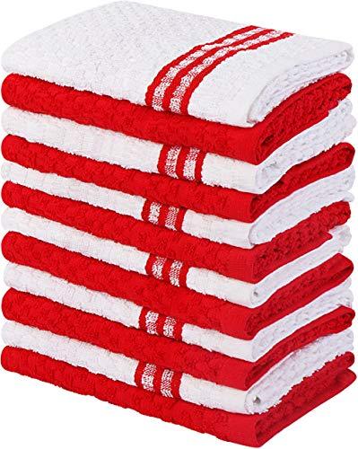 Utopia Towels Küchenhandtücher, 38 x 64 cm, 100{659747cfb6c987f741b31226743fc1c96eb68535020298bc7ffd5ac6bcdd2ed3} ringgesponnene Baumwolle, superweiche und saugfähige Geschirrtücher, Geschirrtücher und Handtücher für die Bar, (12er-Pack - Rot)