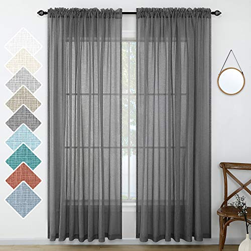 Dark Grey Living Room Curtains Sheer 96 Inches Long 2 Panels Lightweight Linen Look Window Drapes Farmhouse Charcoal Gray Curtains for Bathroom Bedroom Patio Sliding Door Pair Set 52x96 Inch Length