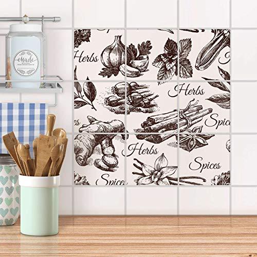 creatisto Stickerfliesen für Küche und Bad I Fliesen-Sticker Aufkleber selbstklebend I Fliesen verschönern - Fliesenspiegel für Küchen- und Badfliesen I Design: Spices