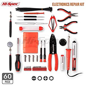 Hi-Spec 60 Piece Electronics Electrical DIY Tool Kit Set with 30W Soldering Iron, Cutting & Fastening Tools for Computer, Car, Audio & Video Repair & Maintenance in Unique Open Reverse Display Case
