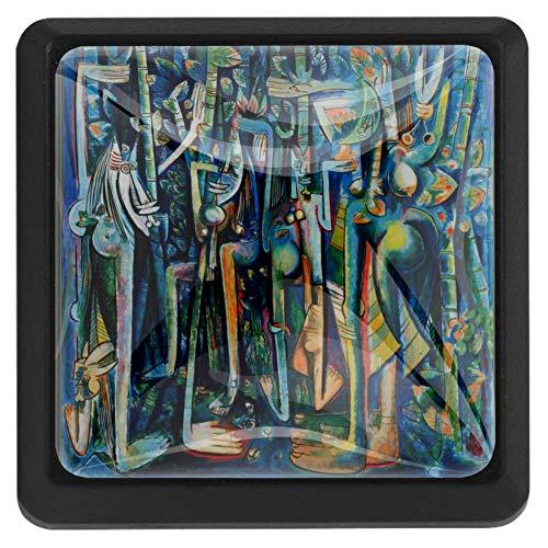 Bennigiry - Pomelli per porte e cassetti, in cristallo, stile etnico, quadrati, per donne africane, 3 pezzi