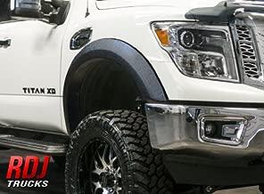 RDJ Trucks PRO-X-TEND Streamline Style Fender Flares - Fits Nissan Titan XD 2016-2020 - Set of 4 - Smooth Paintable OE Black Finish