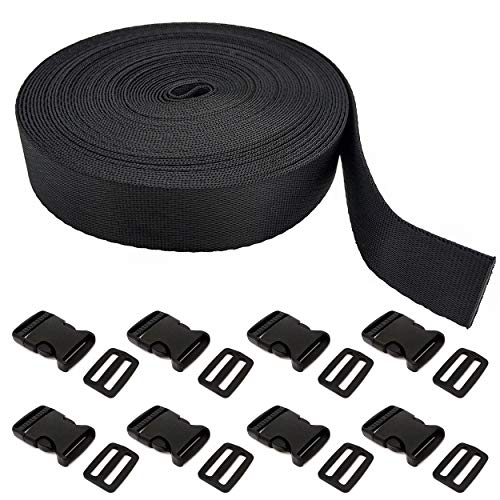 10 Yards Black Nylon Webbing with 8 Adjustable Release Buckles DIY Craft Backpack Strapping