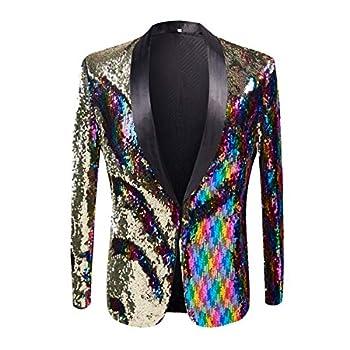 PYJTRL Men Stylish Two Color Conversion Shiny Sequins Blazer Suit Jacket  Colorful XL