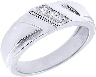 Men's 925 Sterling Silver 3-Stone Diagonal Set Diamond Wedding Band