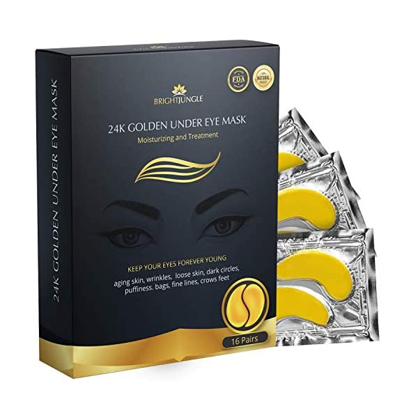 Anti aging products BrightJungle Under Eye Collagen Patch, 24K Gold Anti-Aging Mask,