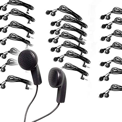 Pack of 100 Bulk Earbuds Headphones Wholesale Ear Buds for Classroom product image