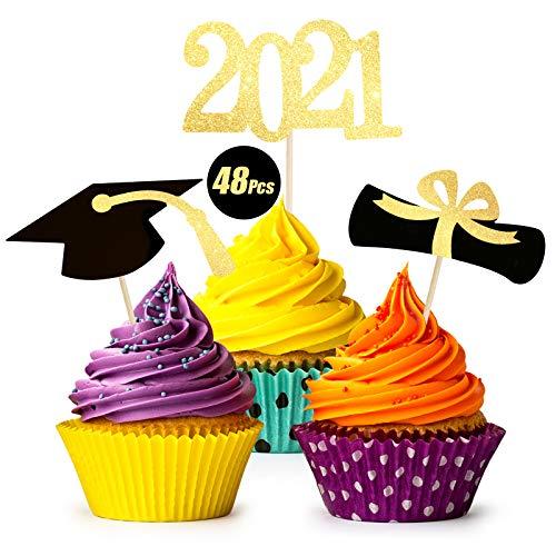 Graduation Cupcake Toppers 2021, 48Pcs 2021 Graduation Decoration for Cupcakes, Class Of 2021 Graduation Decor for Congrats Cake Toppers/Graduation Party Supplies/Food Appetizer Picks Mini Cake Decor