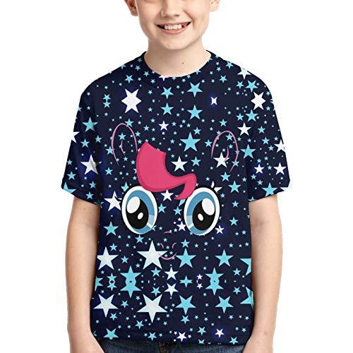John J Littlejohn Mein kleines Pony Pinkie Pie großes Gesicht Boy's Cotton T-Shirts 3D-bedrucktes T-Shirt für Kleinkinder Kid's Short-Sleeve Casual Tee