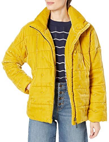 Johnny Was womens Silk Blend Velvet Mustard Yellow Puffer Jacket