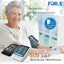 FORA D20 2-in-1 Blood Glucose and Arm Blood Pressure Monitor, Test Strips and Lancing Sold Separately, with Talking Functions, for Diabetes and Hypertension Monitoring