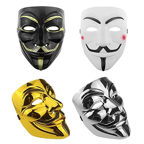 HUYIWEI 4 máscaras de Vendetta para Halloween, máscaras anónimas, máscaras para cosplay, fiestas de Halloween