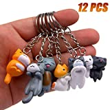 Finduat 12 Pcs Cat Keychains Charms, Collectable Figurines for Kids Adults, Birthday Party Centerpiece Decorations, Cat Theme Baby Shower Party Favors for Kids Birthday Party