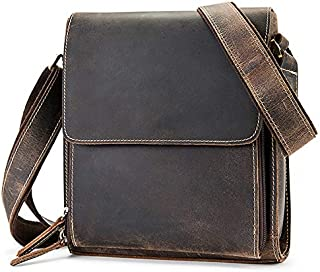 TOOGOO Luxury Genuine Leather Bag for Men Messenger Bag Casual Men Shoulder Cross Body Handbag Large Vintage Crazy Horse Handbag Totes Dark Brown