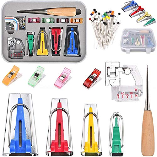Multifunction Bias Tape Maker Kit 11 PCS Set, Single Double Fold 4 Sizes for DIY Sewing Craft Tools, with Sewing Awl Bead Needles Adjustable Binder Clip Wooden Awl