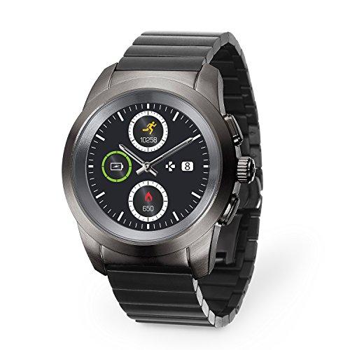 MyKronoz ZeTime Elite Reloj Inteligente híbrido con Agujas mecánicas sobre una Pantalla a Color táctil – Regular Cepillado Titanio/Modern Link