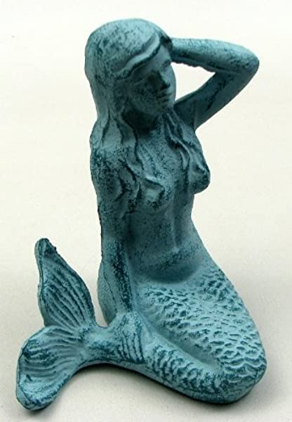 Mermaid Statue Decorative Sculpture Iron Home Indoor Outdoor Garden Landscaping Decor Under The Sea Fish Lady Aquarium Figurine Tabletop Accent