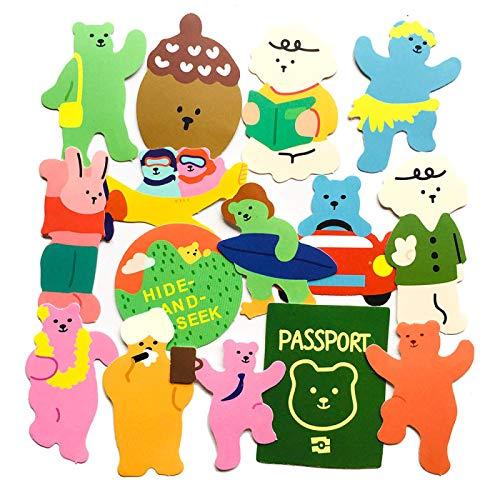WYZNB 15 unids dibujos animados Color Viaje Oso Pegatinas Pintado a Mano Trolley Caso Portátil Monopatín Impermeable Decoración Diy Pegatinas