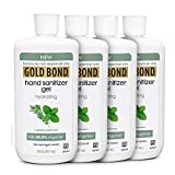 Gold Bond Hydrating Hand Sanitizer Gel - Kills 99.99% of Germs, White, 75% Alcohol, 5 Fl Oz – Rosemary Mint Scent (Pack of 4)