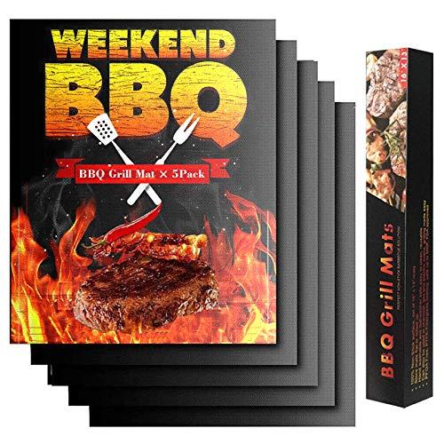 KUNBO BBQ Grillmatte, 5 Stück, antihaftbeschichtet, für Holzkohle, Gas oder Elektrogrill, hitzebeständig, wiederverwendbar und leicht zu reinigen, 40 x 33 cm, schwarz