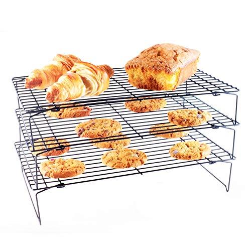 yqs Auskühlgitter 3 Schichten Metall Stapelbar Kühlregal Hohe Qualität Kuchen Cookie Kekse Brot Kühlregal Net Matte Halter Trockenkühler Kochen