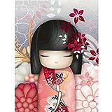 Kit de pintura de diamantes 5D,Chica de dibujos animados en kimono floral...