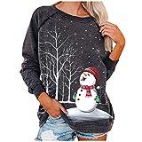 Womens Christmas Snowman Sweatshirts Long Seelve O-Neck Casual Blouse Shirts Pullover Tops