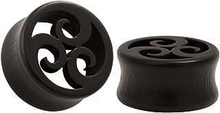 KUBOOZ Ebony Wood Ear Plugs Concise Style Pierced Ear Expander Piercing Tunnels gauge 10mm-25mm