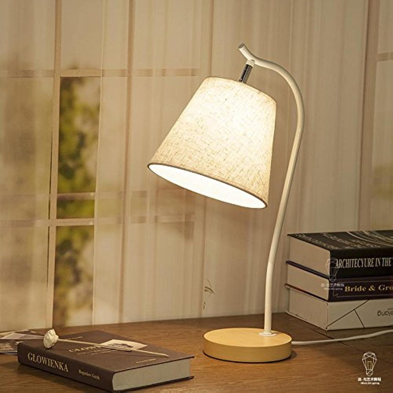 OOFWY LED E27 Table Lamp minimalistisch für Schlafzimmer Wohnzimmer Dekoration Beleuchtung Stoff Schmiedeeisen Krper am Krankenbett Schreibtischlampe, Weiß