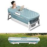 54' Extra Large Freestanding Bathtubs, Outdoor Family Portable Foldable Bathtub, Tub for Adult/Children Efficient Maintenance of Temperature Bath Tub, SPA & Foot Massage Plastic Non-Slip, Blue