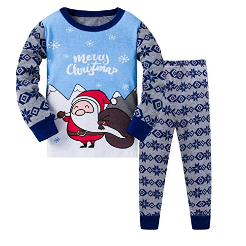 Image of Blue Merry Christmas Santa Claus Pajamas for Boys and Toddlers