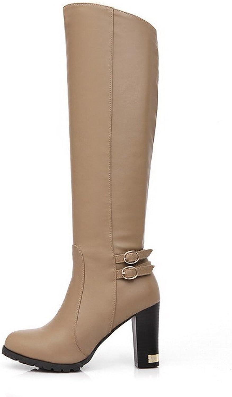 BalaMasa Womens High Heels Knee High Solid PU Autumn and Winter Boots
