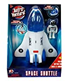 Astro Venture Space Shuttle Toy - Plastic White Spaceship for Kids with Lights