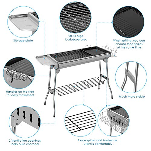 Femor BBQ Grill, Stainless Steel Barbecue Grill Smoker Charcoal BBQ, Folding Portable BBQ for 5-10 Persons Family Garden…