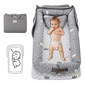 Baby Lounger Baby Nest with Pillow Folding Portable Newborn Cotton Crib Bassinet Breathable & Soft for Travel Bedroom Outdoor