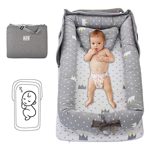 Oenbopo Baby Lounger Cotton Breathable Baby Bassinet Portable Sleeping Baby Bed for Cuddling, Lounging, Co Sleeping, Napping and Travel