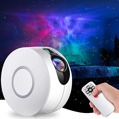 LED Sternenhimmel Projektor mit Fernbedienung, 3 in 1 Nachtlichtprojektor 15 Modi Sternenlicht Projektor Aurora-Effekt Sterne Projektor mit Nebelwolken für Kinder Erwachsene Zimmer Dekoration