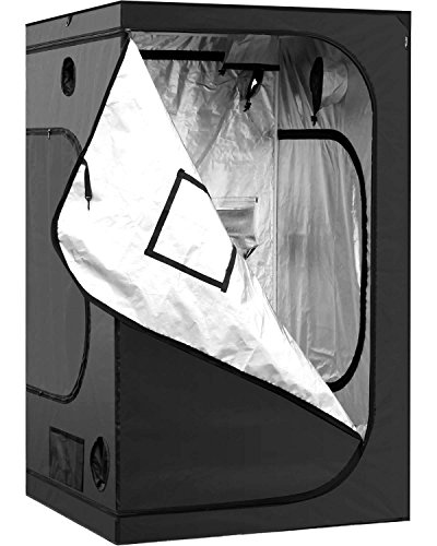 "iPower GLTENTM1 48""x48""x78"" 4'x4' Hydroponic Mylar Grow Tent with Observation W, 48"" x 48"" x 78"", Black and Silver"