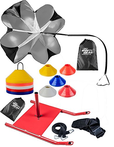 Onlysportsgear OSG Agility Training Crossfit Running Combo Power Speed Sled Chute & Marker Cones Disc
