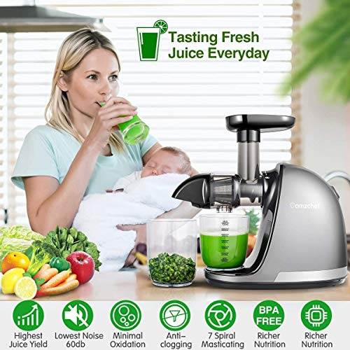 AMZCHEF Juicer Slow Juicer Juicer Stainless Steel Professional Juicer Quiet Engine High Nutrient Fruit & Vegetable Juice with Juice Can & Cleaning Brush (Creamy-White)