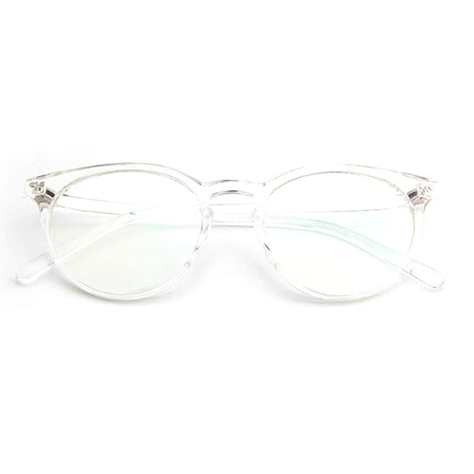 深く勧めるクリープ小さな新鮮な米ネイルフレームレンズレトロ古風な円形フレームファッションフレーム男性用近視眼鏡女性-透明な白