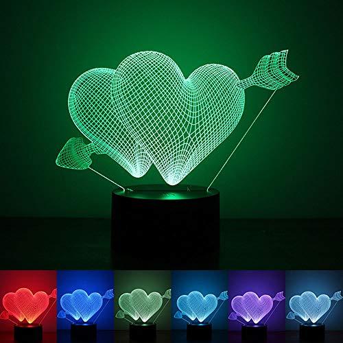 Illusion 3D Flèche de Cupidon 7 lumière de Nuit de Couleur, Alimenté par USB Lampe de Table LED, Éclairage de Chambre d'enfants décoration Halloween/Vacances/Cadeaux d'anniversaire