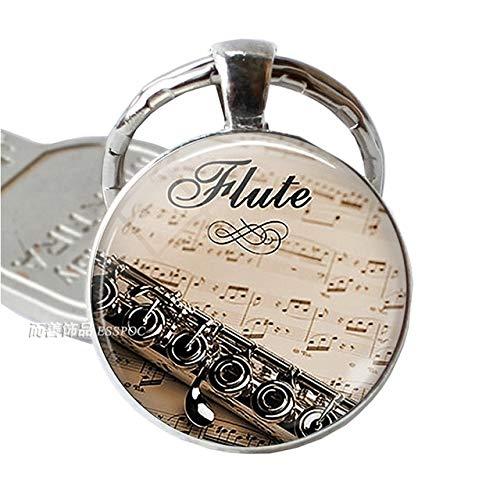 DSBN Sleutelhanger Muziekinstrument Klarinet Gitaar Flute Viool Muziek Sleutelhanger Muziek Note Sleutelhanger Sleutelhangers Muziek Glas Dome Sieraden Als Show