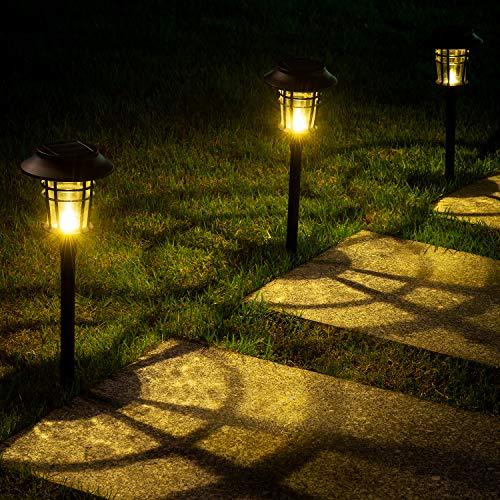 LeiDrail Solarleuchten Garten Weihnachten LED Solar Wegeleuchte Solarbetriebene wasserdichte Warmweiß Glas Circular pattern Deko Metall Solarlampen für Außen Rasen Gehweg Landschaft 6 Stück