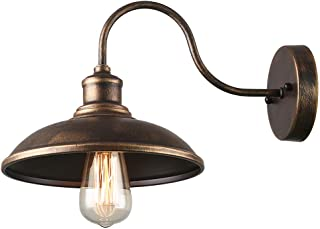 Giluta Gooseneck Wall Sconce Farmhouse Style Barn Light with Metal Shade Rustic Wall lamp Lighting Fixture Ideal for Bedroom Bathroom Garage Warehouse, Oil Rubbed Golden (W0039)
