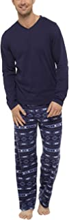 Men's Winter Pyjama's with Jersey Top and Supersoft Fleece Trousers in Fairisle Print (S to 8XL)