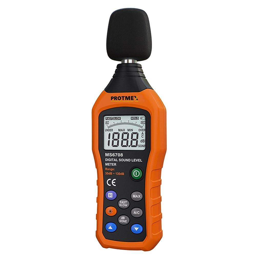 松明最適サンダース小型デジタル騒音計, Protmex MS6708 音圧計 騒音測定計 30-130db 30Hz-8kHz 音圧 レベル ノイズメータ テスター 高速/低速 選択 データ保存 バックライト付き Max/Min値 100グループデータストレージ