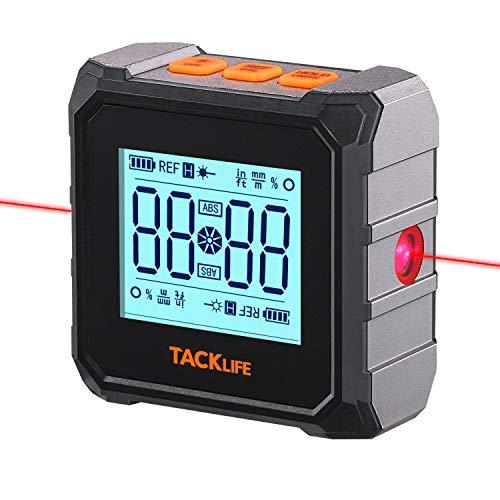 Inclinometro, Inclinometro con 3 Tipi di Livella Laser, Mini Inclinometro Professionale, Goniometro con Base Magnetica, Memorizzazione Dati, Calibrazione Automatica, Ricarica USB, Tacklife MDP03