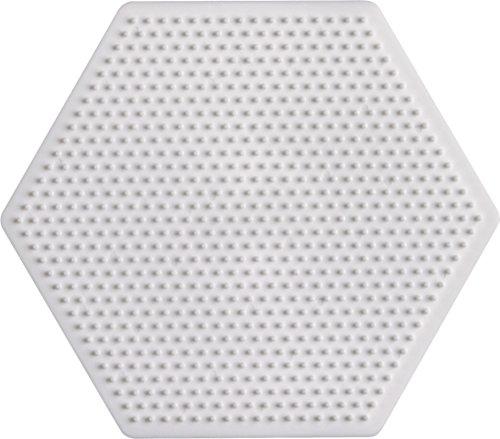 Hama–594–Freizeit Kreative Montageplatte sechseckig für Perlen Bügeleisen Mini