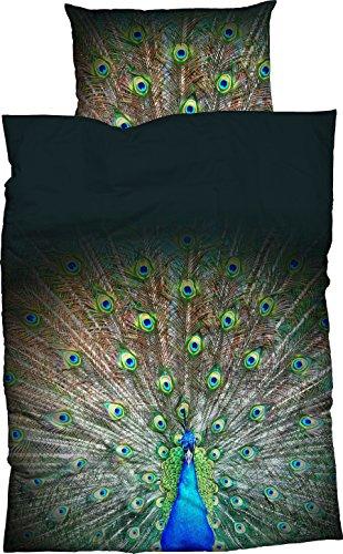 Casatex Mako-Satin Bettwäsche Peacock 135x200 cm + 80x80 cm